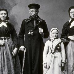 Close-up of immigrant family in old world garb