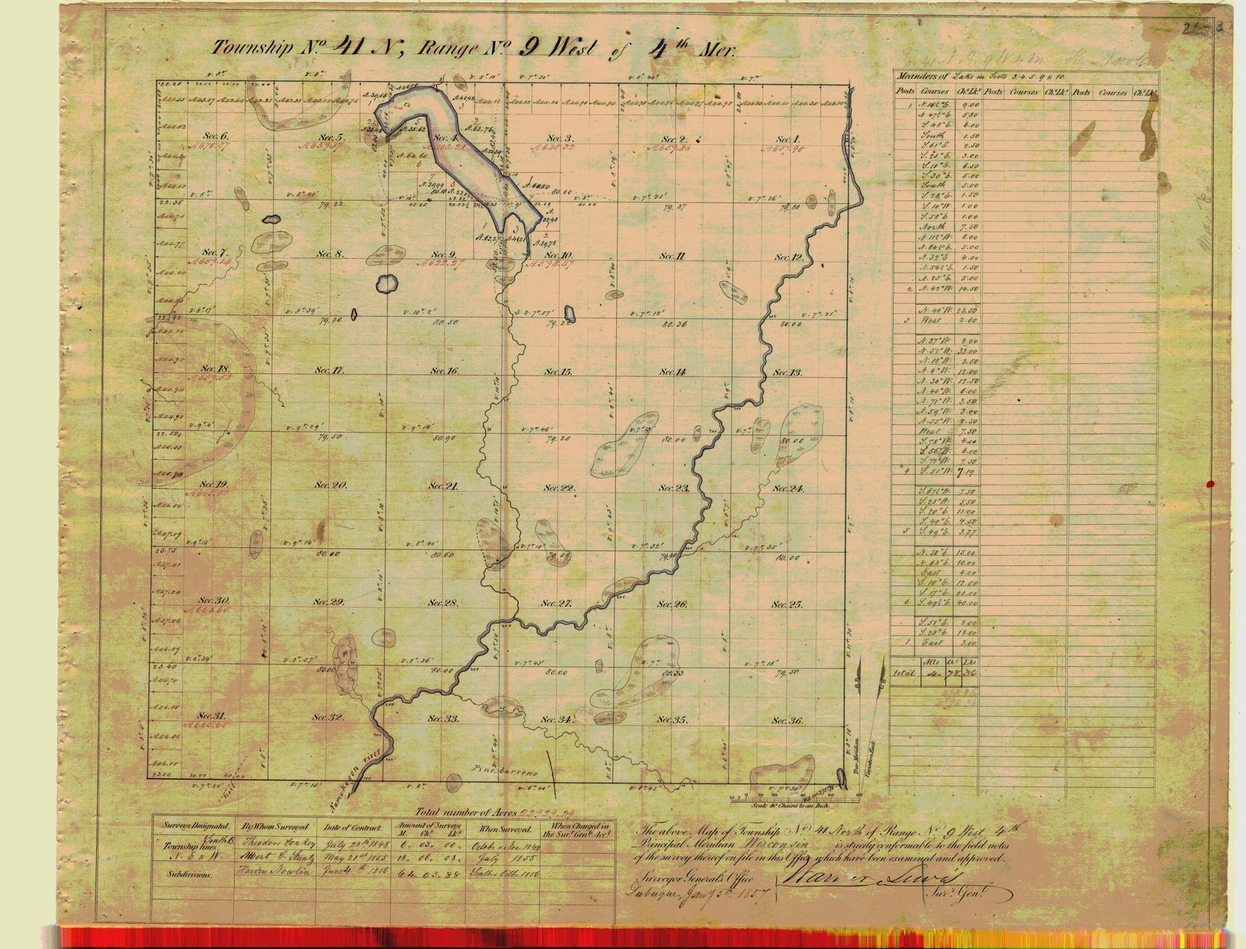 [Public Land Survey System map: Wisconsin Township 41 North, Range 09 West]