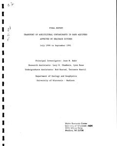 Transport of agricultural contaminants in sand aquifers affected by drainage ditches : July 1990 to September 1991 : final report