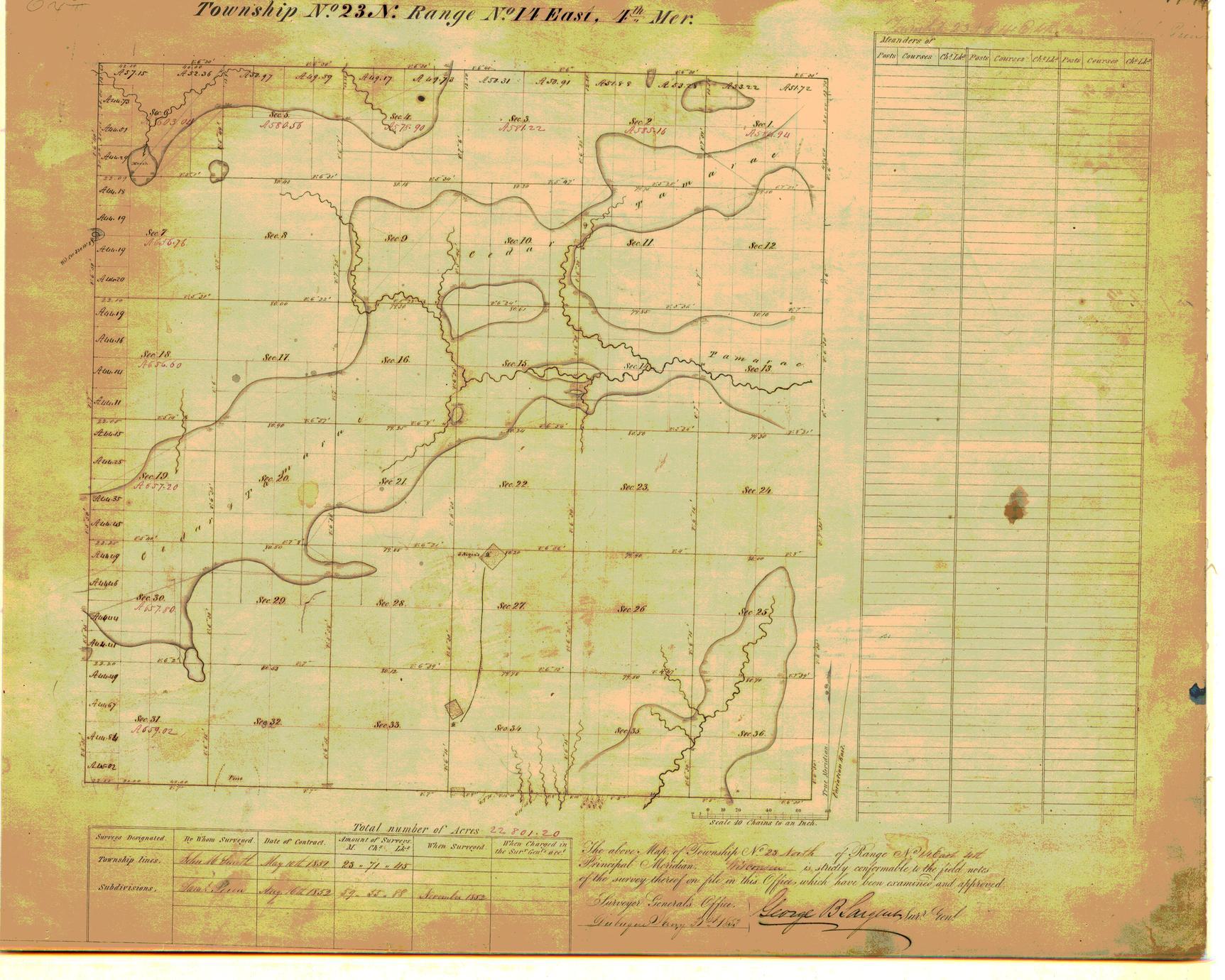 [Public Land Survey System map: Wisconsin Township 23 North, Range 14 East]