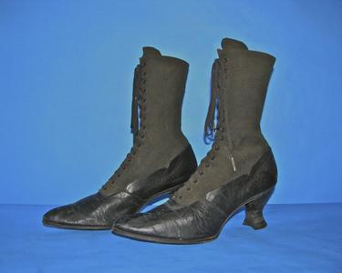 Black fabric upper boots with black laces