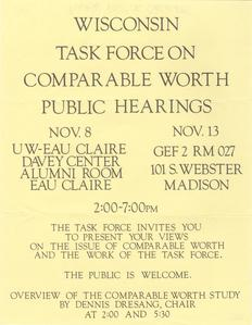 Wisconsin Task Force on Comparable Worth public hearings poster