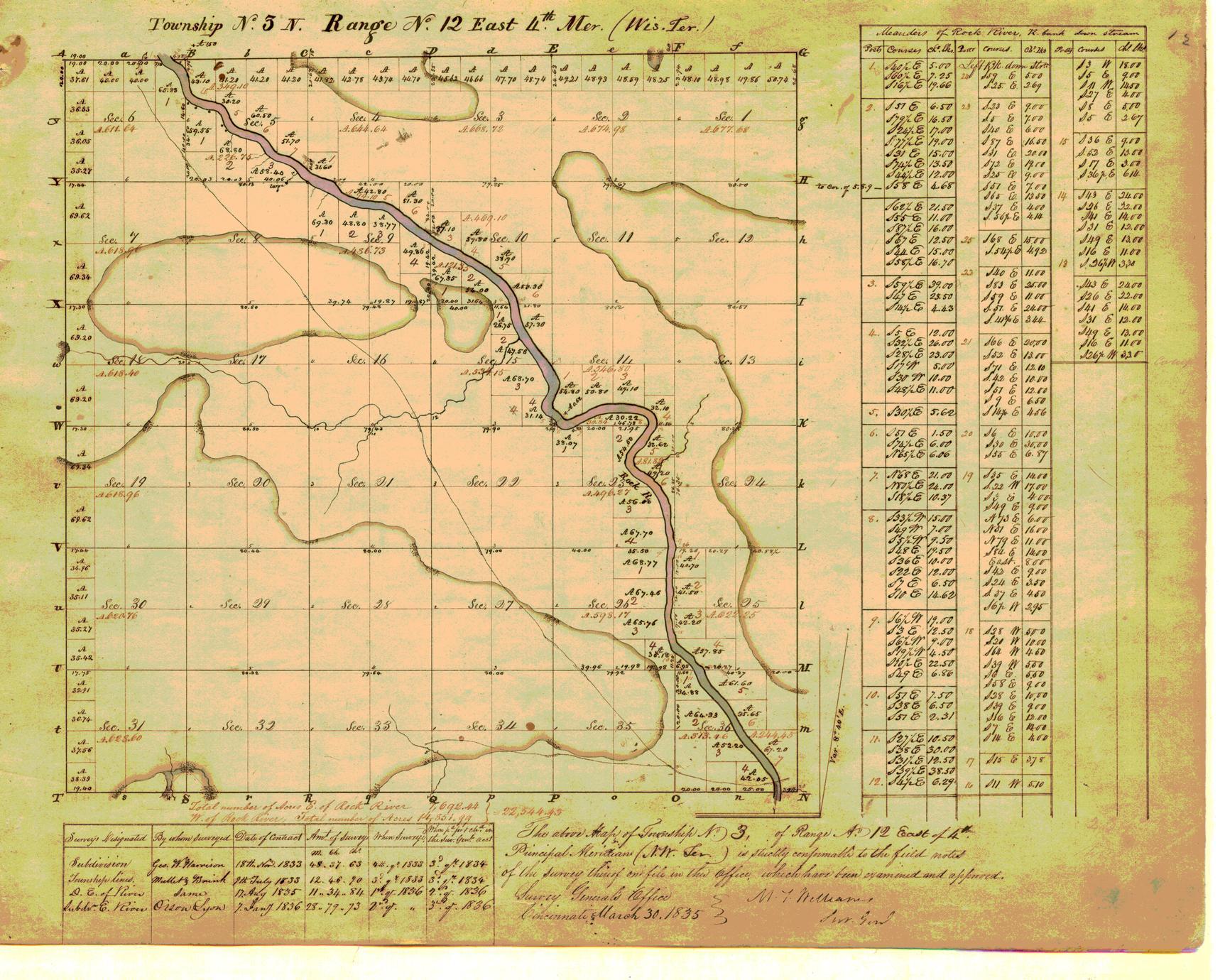 [Public Land Survey System map: Wisconsin Township 03 North, Range 12 East]
