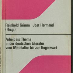 Arbeit als Thema in der deutschen Literatur vom Mittelalter bis zur Gegenwart