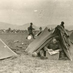 Ray Cunneen in his two man pup tent