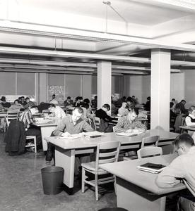 Students studying, Commerce building