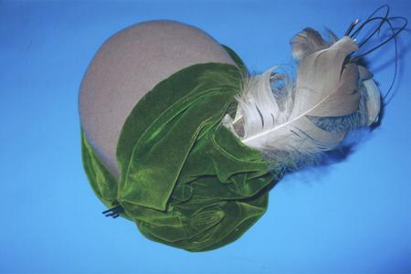 Gray felt cloche-style hat