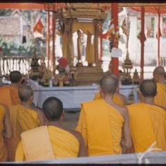 Bonzes praying at Prabang