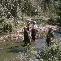 Ethnic Khmu' women fishing