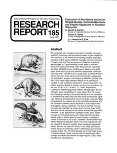 Evaluation of abundance indices for striped skunks, common raccoons and Virginia opossums in southern Wisconsin