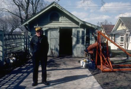 Ed Piller in front of his garage