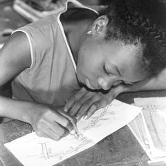 Girl Making a Map at a Primary School