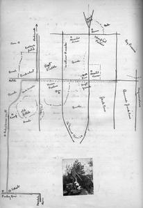Map drawn by AL with small inset photo of him hunting with gun and dog, Juneau County, Wisconsin, September 1925