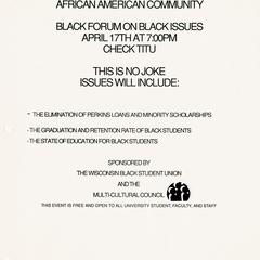 Poster for Black Forum
