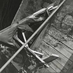 Damaged wooden raft