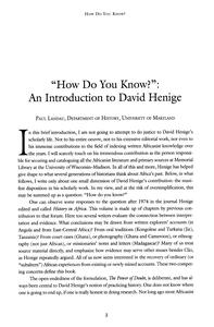 """Page 9 - """"How do you know?"""": an introduction to David Henige"""