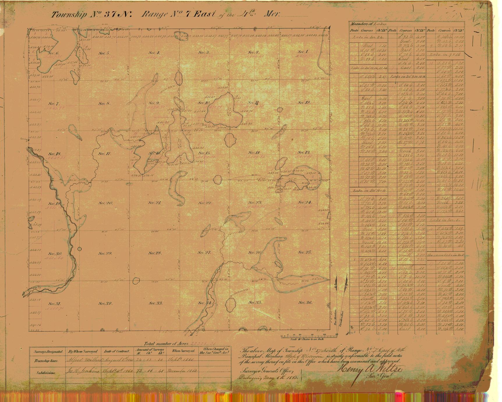 [Public Land Survey System map: Wisconsin Township 37 North, Range 07 East]