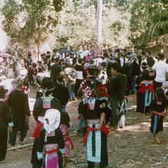 Hmong villagers at Nam Phet welcoming guests in Houa Khong Province