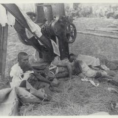 Insurgent wounded awaiting medical treatment and transport, Bigaa, 1899
