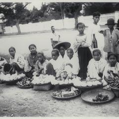 Female Filipino fruit sellers, Manila, early 1900s
