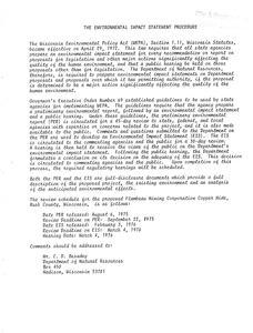 Environmental impact statement : Flambeau Mining Corporation copper mine, Rusk County, Wisconsin