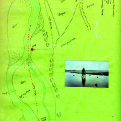 Hunting along the Rio Grande River, map of area drawn by AL and small inset photo, 1920-1921