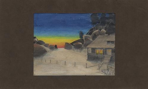 Original crayon/ink drawing by AL of Forest Service house at Tres Piedras, New Mexico, ca. 1911