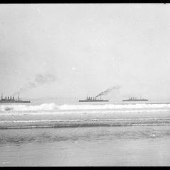 Warships in front of hotel