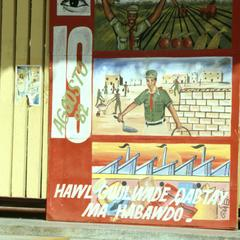 Pro-Socialist Billboard with Farming, Construction, Industry