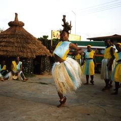 Woman dancing at masquerade