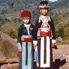 Two White Hmong girls in Houa Khong Province