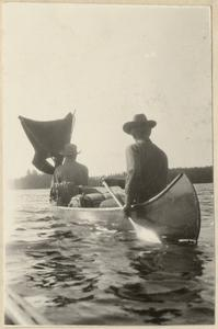 """The homemade sail,"" canoeing photo from Quetico trip, June 23, 1924"