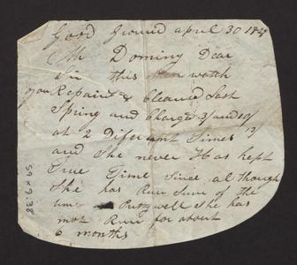 Note and complaint from Alvin Squires, Good Ground, April 30, 1829