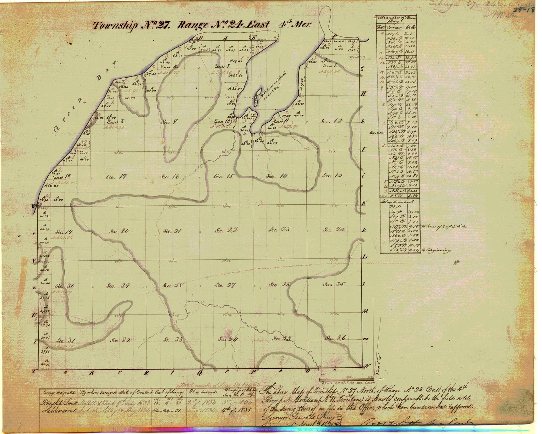 [Public Land Survey System map: Wisconsin Township 27 North, Range 24 East]