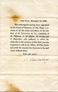 Notice on the estate of G. Tillotson & Co.