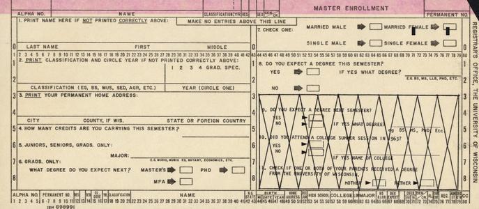 Master enrollment computer punch card