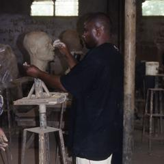 Student and sculpture