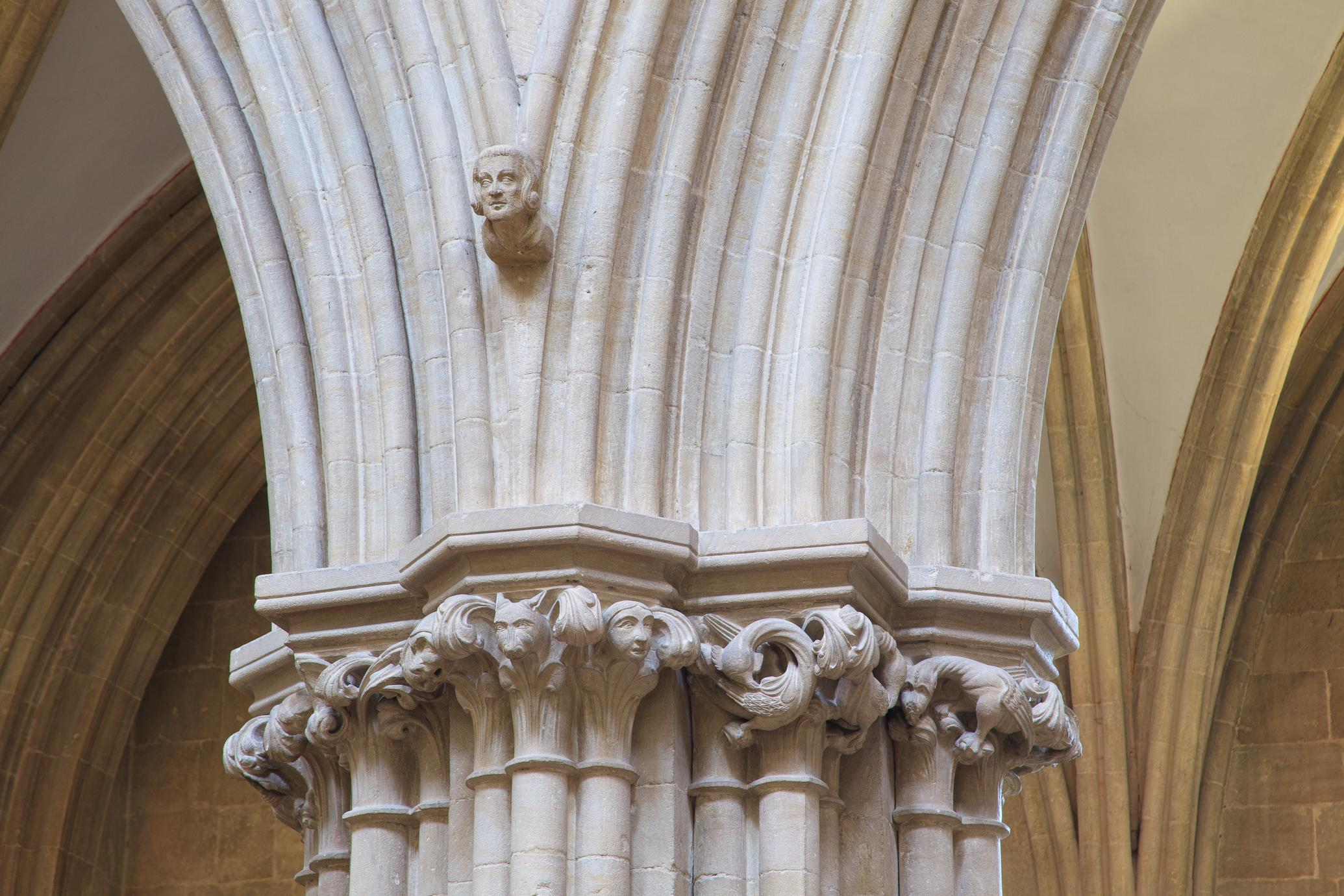 Wells Cathedral interior nave arcade capitals