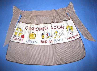 Brown and white striped half apron