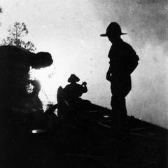 Carl, Luna, and Starker Leopold at Quetico Boundary Waters with Luna and Starker (silhouetted against sun), Fall Lake, Ontario, Canada, August 1925