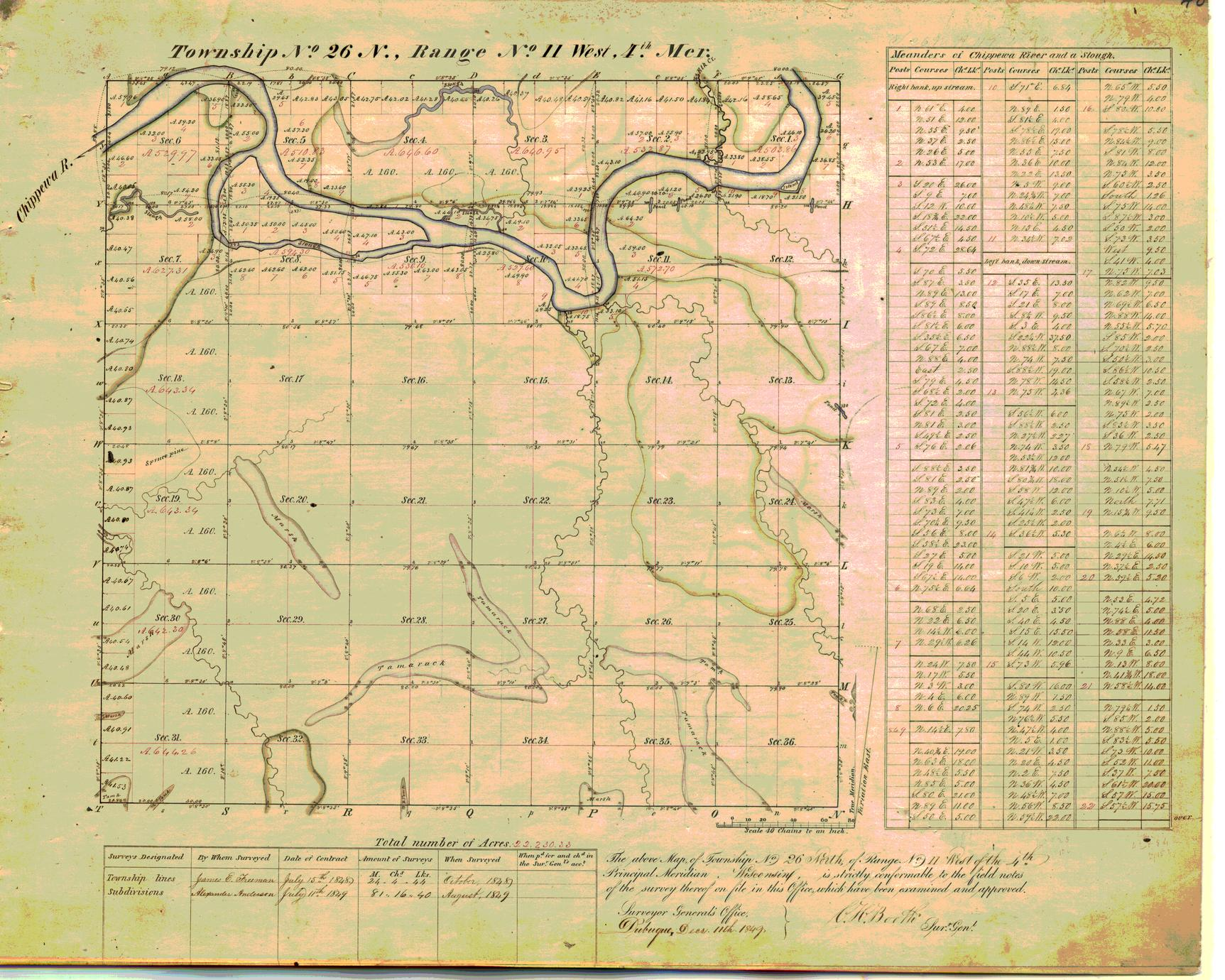 [Public Land Survey System map: Wisconsin Township 26 North, Range 11 West]