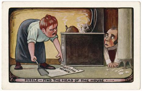 Find the head of the house, suffrage postcard