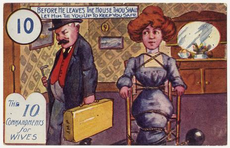 'Before he leaves the house' postcard