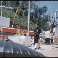 Officials dedicating Bodhi tree