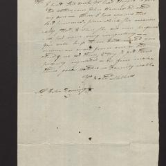 Letter, Nathaniel Miller, Fireplace, to Mr. Felix Dominy, East Hampton