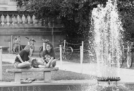Students at fountain