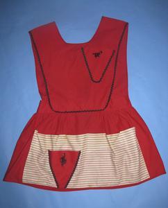 Red cotton apron