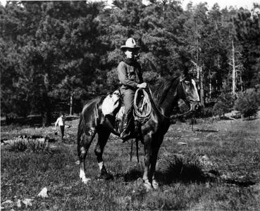 Equestrian in forest, Aldo as Forest Assistant and chief of reconnaissance party, Arizona, 1910