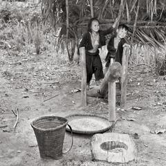 Wooden rice thresher