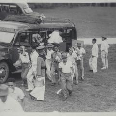 Cadets leaving bus, Baguio